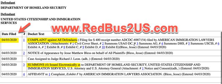 AILA Lawsuit Against USCIS - Court Dates List Status - April 2020
