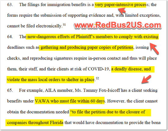 Risks of COVID-19 with Paper based mailing Applications to USCIS