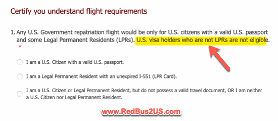 US Citizens Eligibility and Green Cards for Flight Evacuation.