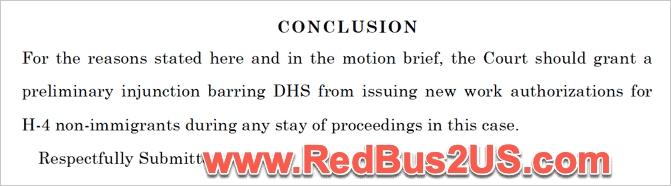 Conclusion Save Jobs for Injunction H4 EAD