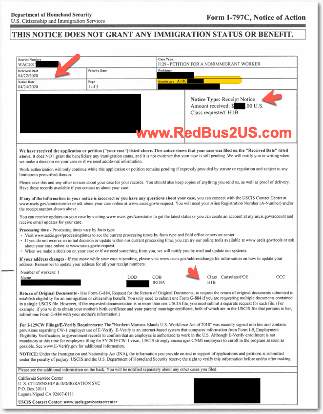 H1B 2021 Sample Receipt Notice - Page - 1- User 1