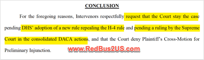 Intervenors Conclusion to Stay the H4 EAD Lawsuit