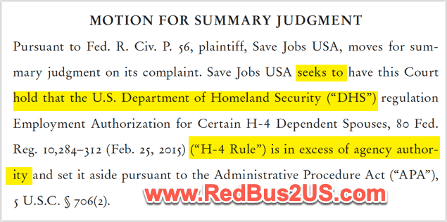 Mar-20 - Save Jobs USA - Motion for Summary Judgement