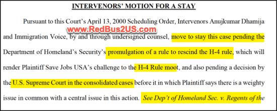 Motion for Stay Intervenor H4 EAD Case - April 2020