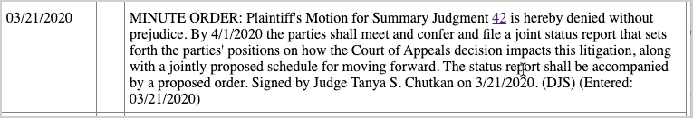 Motion for Summary Judgment denied by Court