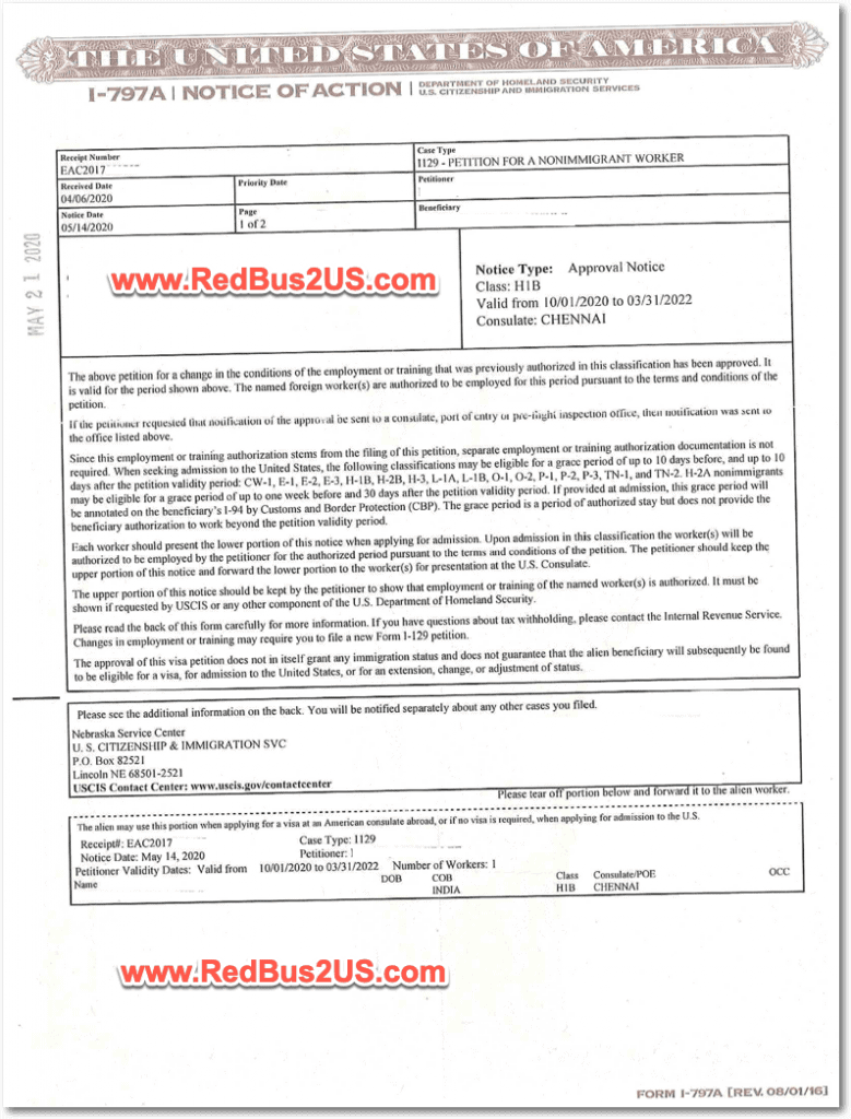 Sample H1B Approval Notice -H1B 2021 - Regular Quota - Page 1