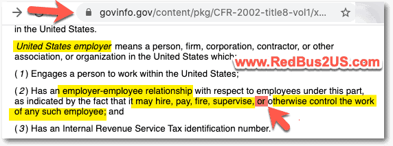 United States Employer Definition - H1B Context