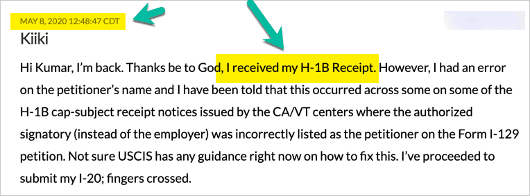 User Update H1B Receipt Notice Received