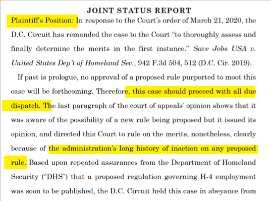 joint Status Report by DHS - Save Jobs USA H4 EAD Case