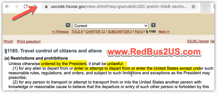 1185 a1 - INA Travel restrictions power for US President
