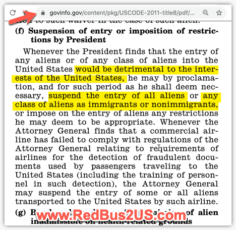 Section 212(f) US President Power to Block Entry of Aliens to US Regulation