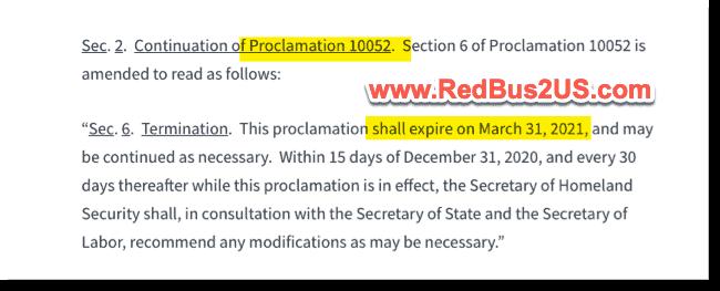 H1B Travel ban Expiration - March 31-2021