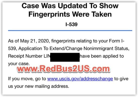 H4 I-539 Status - Case Was Updated To Show Fingerprints Were Taken USCIS