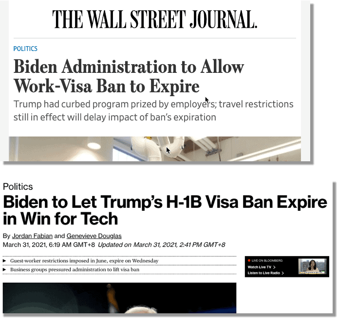 Travel Ban set to expire on March 31 for H1B - WSJ and