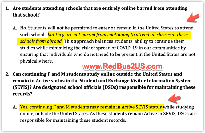Can student study outside US - SEVP update