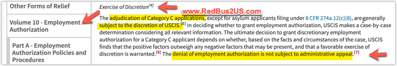 EAD Rules for USCIS Discretion