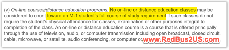 Online Program Requirement for M1 Students