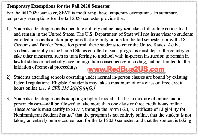 SEVP Temporary Exemptions Changes for Fall 2020 F and M students