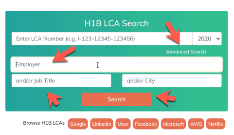 Advanced Search to find LCA by company