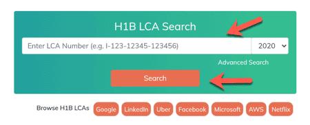 Enter H1B LCA case Number