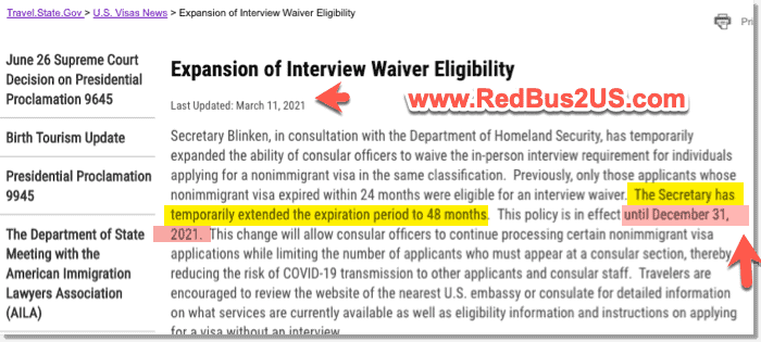 US Dept of State Expands Interview Waiver Until Dec 31-2021