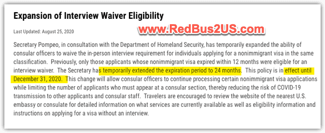 US Dept of State Update on Interview waiver requirement