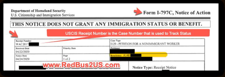USCIS Case Number - Receipt Number on I-797C Form