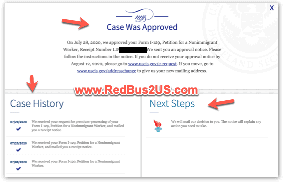 USCIS Case Status History Screen with Account login