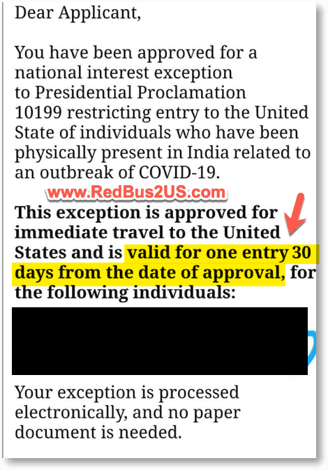 Email Approval for NIE with 30 days to travel rule
