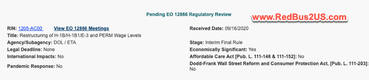 H1B Wage Changes Rule Status - Pending EO 12866 Review