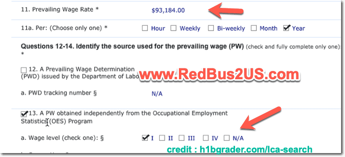 H1B Wage Levels Prevailing Wage