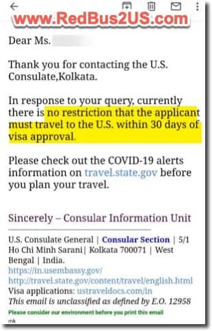Kolkata US Visa - 30 days NIE Travel Rule