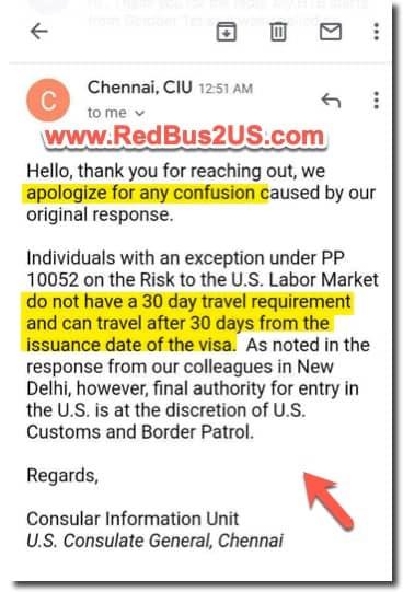 NIE Rule - Chennai - Clarification email