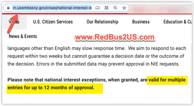 NIE Valid for 12 months from US Embassy India website
