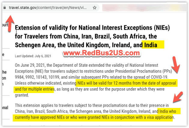 NIE Valid for 12 months from the date issued Change by US Dept of State