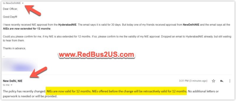 National Interest Exception now valid for 12 months - Email from US Embassy Delhi