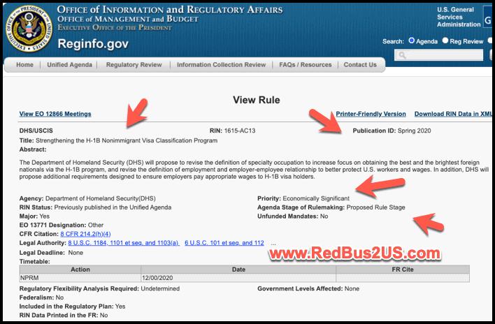 Strengthen H1B Visa Program - Regulation Info in Federal Register