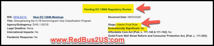 Strengthening H1B Visa Program Rule Status