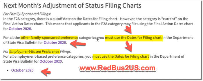 USCIS Guidance on Visa Bulletin saying to use Dates of Filing for October 2020