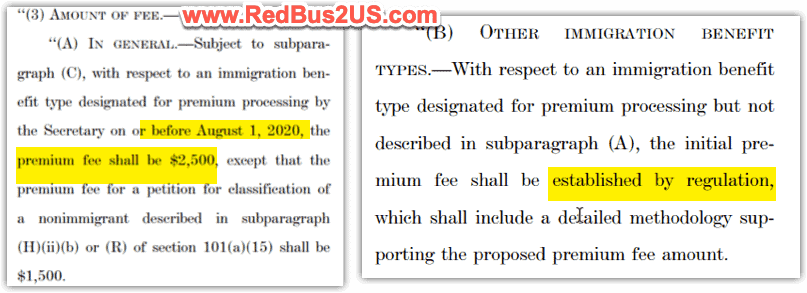 USCIS Premium Processing Fee 2500 - Regulation Info