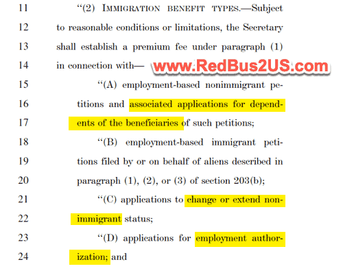USCIS Premium Processing for H4 - L2 and EADs Congress Bill Text