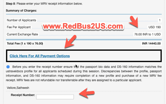 Fee payment for US Visa Appointment in India Payment Options