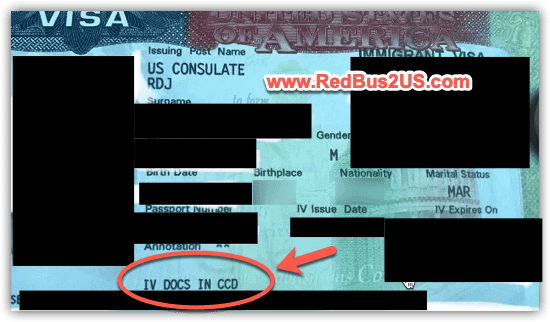 Immigrant Visa annotation IV Docs in CCD