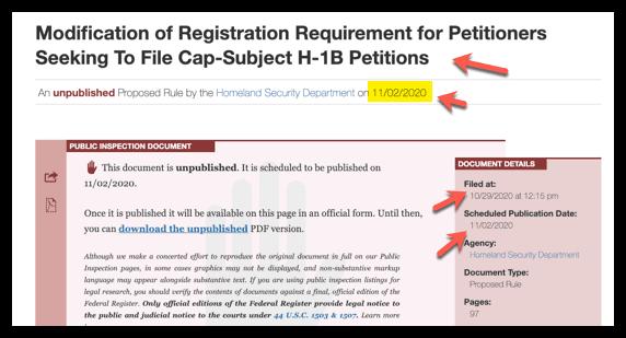 Rule Set to be published on Nov 2-2020