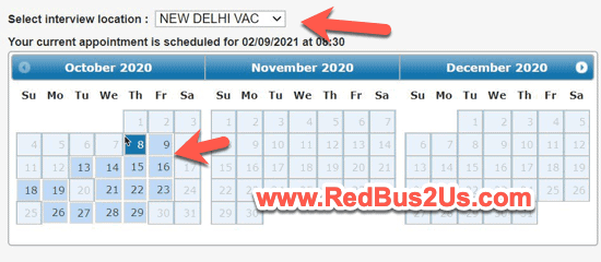 US Visa Appointment Scheduling Calendar with Slots