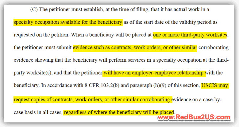 USCIS Proof of Speciality Occupation - Third Party Placement 2020