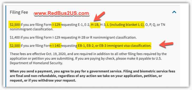 USCIS premium processing fee for H1B and L1 2500