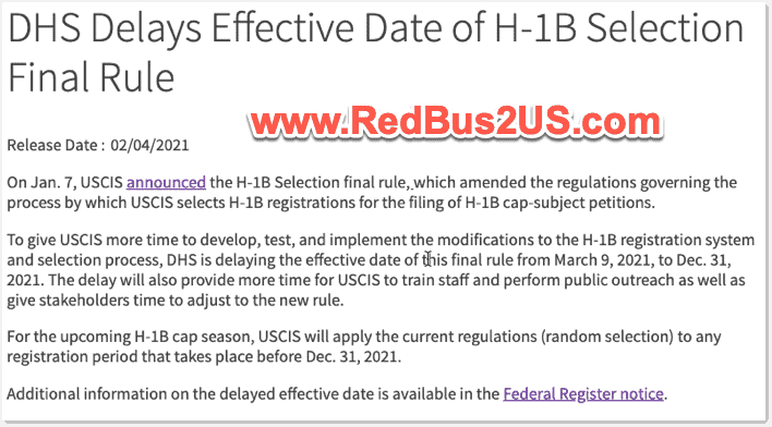 DHS Delays the H1B Lottery Selection to be based on Wage Levels Rule to Dec 2021