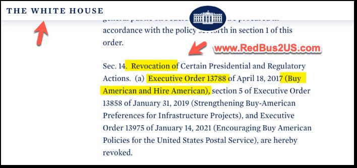 Revoke of Buy American Hire American by Biden Jan 2021