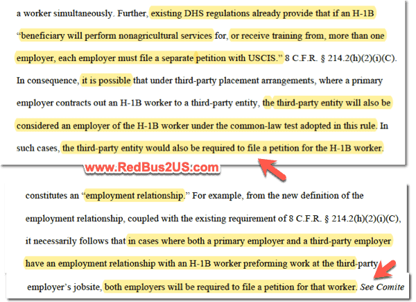 Third party employer or client need to file H1B petition with DHS new rule